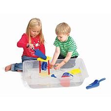 Контейнер за игра с вода и пясък - прозрачен