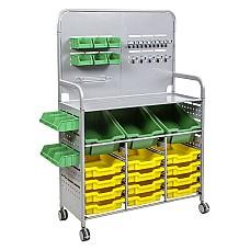 MakerSpace стелаж количка с 3 дълбоки контейнера и 12 плитки Слънчево жълти (02)