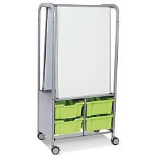 MakerHub стелаж количка с 2 магнитни дъски и 4 дълбоки контейнери Лайм (36)